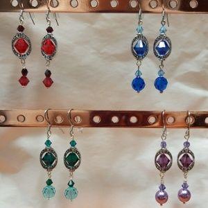 Jewelry - Swarovski Crystal Blue Dangle Earrings